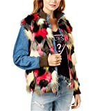 Product review for Guess Women's Faux-Fur Pink Multi Denim Jacket