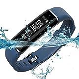 ID130 Bluetooth IP67 Waterproof Sleep Monitor Pedometer Bracelet(Dark Blue)