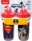 Baby : Playtex Sipsters Stage 3 Super Friends Spill-Proof, Leak-Proof, Break-Proof Insulated Straw Sippy Cups - 9 Ounce - 2 Count (Color/Theme May Vary)