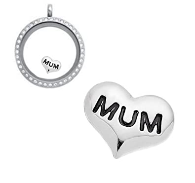 Mum heart floating charm for living memory glass lockets necklace mum heart floating charm for living memory glass lockets necklace mothers day gift aloadofball Image collections