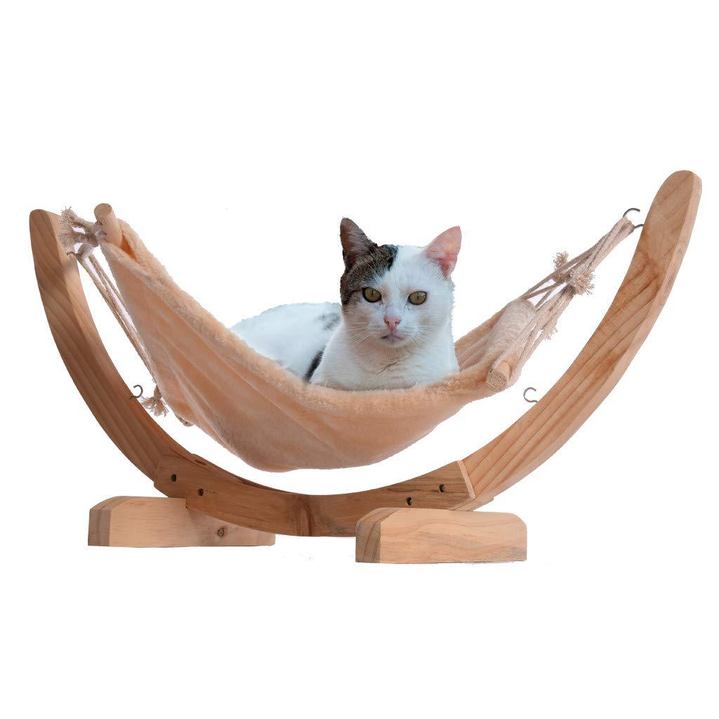 RTYou Luxury Cat Hammock - Large Soft Plush Cat Bed for Indoor Cat Holds Small to Medium Size Cat or Small Dog   Attractive & Sturdy Perch   Easy to Assemble   Prime Cat Toy 【Ship from USA 】