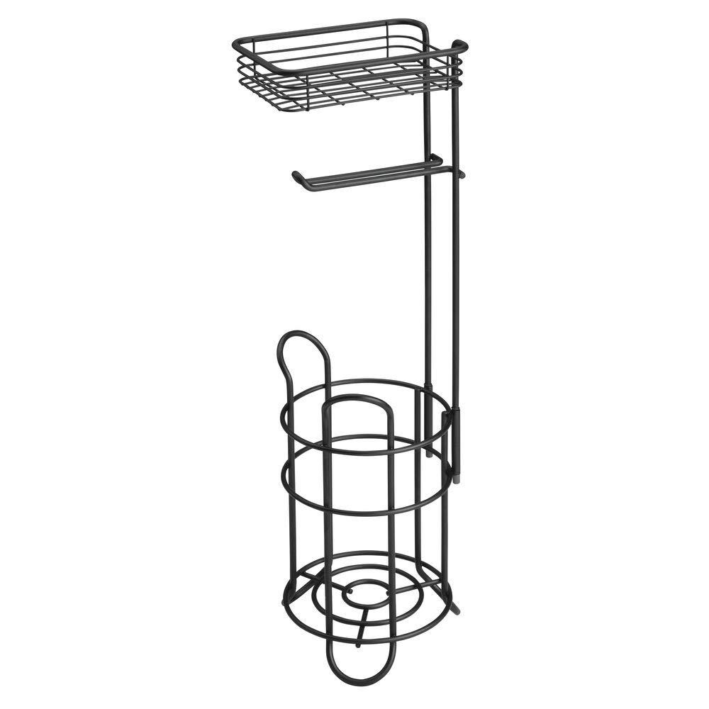mDesign Portarrollos de Papel higi/énico con Estante Porta Rollos de pie con Espacio para 3 Rollos de Papel higi/énico Elegante dispensador de Papel higi/énico de Metal Plateado Mate