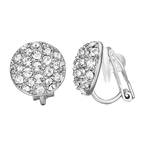 Clip White Earrings - Yoursfs Clip On Earrings for Women 18K White Gold Plated Sparkle CZ Round Cocktail Earring Jewelry