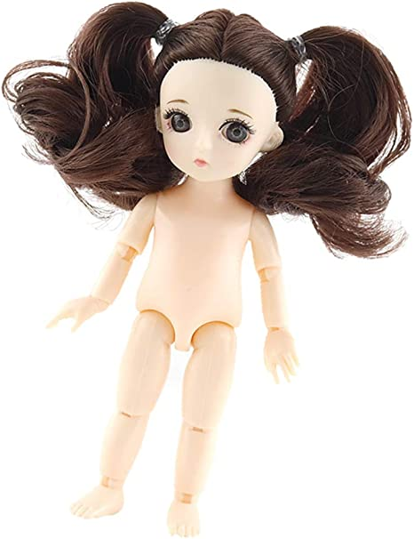 Modern Girl Body Model 16cm 13 Joints Nude Girl Doll with Dark Brown Hair