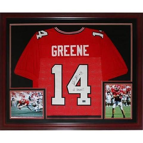 David Greene Autographed Georgia Bulldogs (Red #14) Deluxe Framed Jersey - Deluxe Framed Jersey