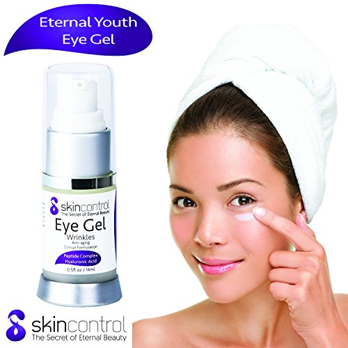 Anti Aging & Wrinkle Eye Gel Against Dark Circles Under the Eye & Puffiness – Moisturizing Cream - All Organic & Natural Components Infused with Aloe Vera, Hyaluronic Acid & Jojoba for a Youthful Skin by skincontrol Natural Care, Clear Results (Image #1)