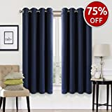 EASELAND 99% Blackout Curtains 2 Panels Set✅Room Darkening Drapes Thermal Insulated Solid✅Grommets Window Treatment Pair for Bedroom, Nursery, Living Room,W52xL63 inch,Navy For Sale