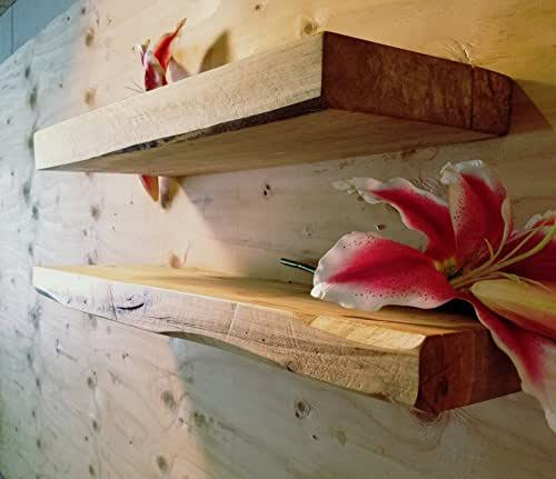Set of 2 Rustic Real Edge Ambrosia Maple Solid Wood Floating Shelves (USA MADE)