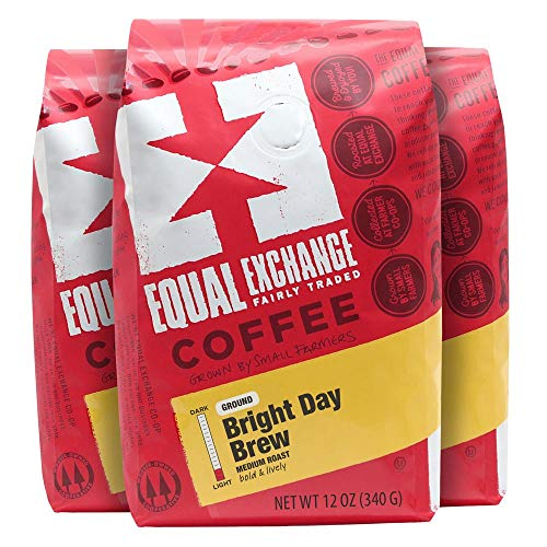 Equal Exchange Organic Ground Coffee, Bright Day Brew, 12-Ounce Bag (Pack of 3) (Day Exchange)