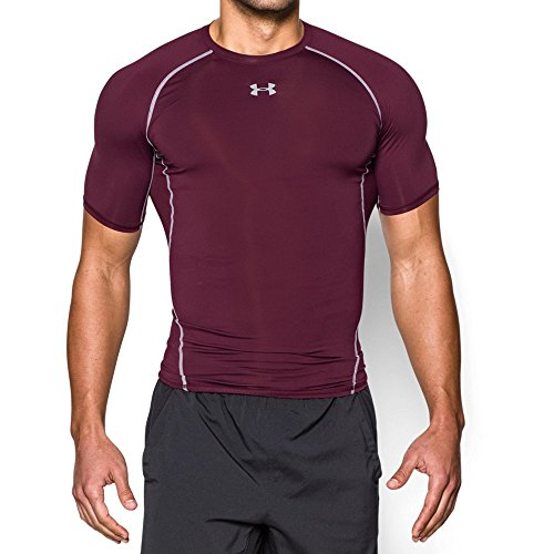 Under Armour Men's HeatGear Armour Short Sleeve Compression Shirt, Maroon/Steel, Medium