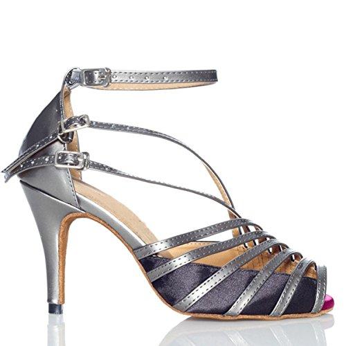 Minitoo QJ6105 Womens Peep Toe PU Leather Salsa Tango Ballroom Latin Fisherman Dance Sandals Grey-10cm Heel YIy1NTL9qA
