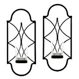 Hosley's Set of 2-12'' High Iron Tea Light Candle Wall Sconces. Ideal Gift for Wedding, Special Occasion, Spa, Aromatherapy. Hand made by Artisans O3