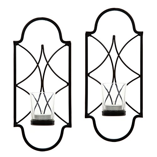 Hosley Set of 2 12 Inch High Iron Tealight Candle Wall Sconces Ideal Gift for Wedding Special Occasion Spa Aromatherapy Hand Made by Artisans O3