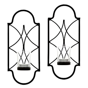 "Hosley Set of 2-12"" High Iron Tea Light Candle Wall Sconces. Ideal Gift for Wedding, Special Occasion, Spa, Aromatherapy. Hand Made by Artisans O3 17"