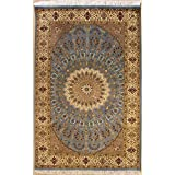 Rugstc 4'6 x 7'0 Pak Persian Area Rug with Silk & Wool Pile - Floral Design | 100% Original Hand-Knotted in Greenish Blue,White,Beige Colors | a 4.5x7 Rectangular Double Knot Rug