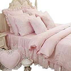 Abreeze 4-Piece Girls Fairy Bedding Sets Lace Design, Girls Bedding Romantic Princess Cotton Duvet Cover Set Twin Pink