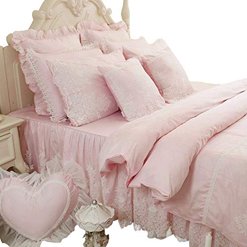 Abreeze Pink Girl Bed Set 100% Cotton Princess Ruffled Lace Duvet Cover Sets (Duvet Cover+Bed Skirt+Pillow Cases) Queen (Princess Ruffled)