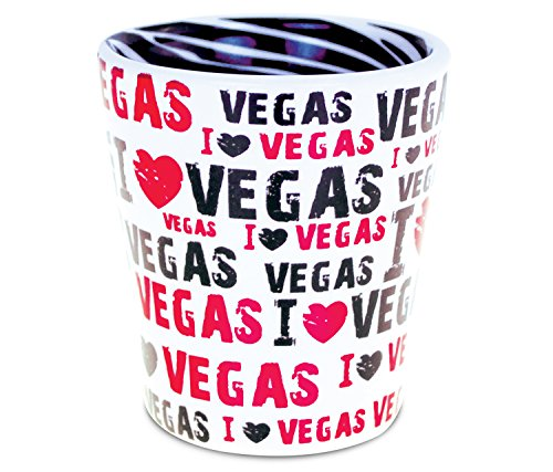 "Puzzled""I Love Las Vegas"" Zebra Pattern Tequila Whisky Vodka Famous Sites Themed Ceramic Shot Glass Home Bar Tool Party Accessory Drinkware Novelty Glassware Drinking Game Shooter Glasses Pink"