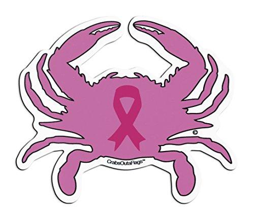 Pink Breast Cancer Ribbon Crab Sticker