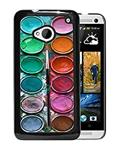 New Fashion Custom Designed Cover Case For HTC ONE M7 With Watercolor Sets Witeh Brushes 3 Black Phone Case
