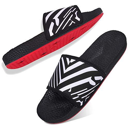 JOINFREE Lightweight House Shoes Shower Bathroom Slide Open Toe Slippers for Women Black Stripe 7.5 M US ()