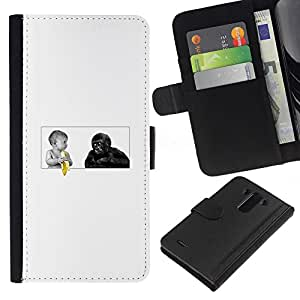 YiPhone /// Tirón de la caja Cartera de cuero con ranuras para tarjetas - Funny Baby Plátano Y Mono del gorila - LG G3