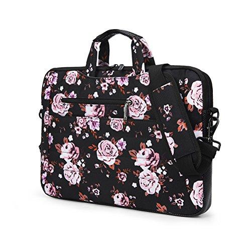 Inmount 13.3 Inches Multi-function Rose Printed Laptop Messenger Briefcase Bag Water-Resistant Shoulder Bag Simple Lightweight Sleeve Hand Bag For Laptop/Tablet/Books/Men/Women/Student(Black (Multifunction Rose)