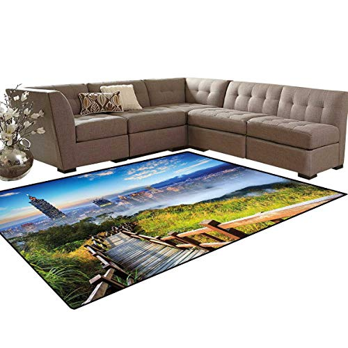 Scenery Door Mats for Inside Beautiful Scenery of a Cityscape Cosmopolitan Life and Nature with Bridge Print Bath Mat 5'x6' Multicolor ()