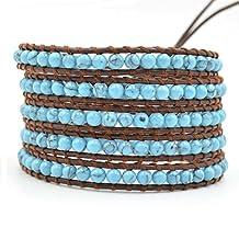 Unisex Blue Turquoise Stone Beads Leather 5 Wraps Bracelet Gemstone Beaded