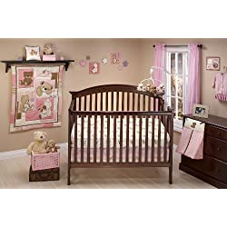 Little Bedding Dreamland Teddy Girl Crib Bedding Set Pink and White