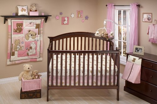 Cuddly Pink Teddy Bear - Little Bedding Dreamland Teddy Girl Crib Bedding Set