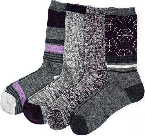 Kirkland Signature Ladies' Trail Socks Merino Wool, 4 Pairs, Charcoal/Purple (Charcoal/Purple)