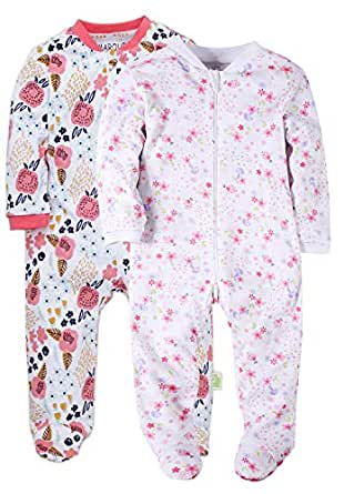Amazon.com  Baby Girls Footed Pajama - 100% Cotton Zip Front Sleep ... fb54f6a15
