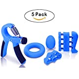 Hand Grip Strengthener Workout kit(5 Pack), Adjustable Resistance Hand Strengthener, Finger Exerciser, Finger Stretcher, Grip Ring + Stress Relief Ball, Workout for Athletes Musicians Rock Climbers