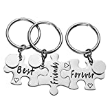 JOVIVI Free Engraving - Personalized Stainless Steel Best Friends Forever Puzzle Piece Keychain for 3- Sister BFF Best Friends Gift