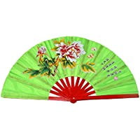 Chinese Kung Fu Tai Chi Fan Arts Dance/Practice Performance Bamboo Folding Fan Peony Flower Pattern (Green)