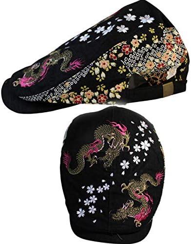【RP62】【和柄刺繍ハンチング】和柄 帽子 双龍柄 和柄 キャップ 和柄 帽子 和柄刺繍メッシュキャップ 和柄メンズ