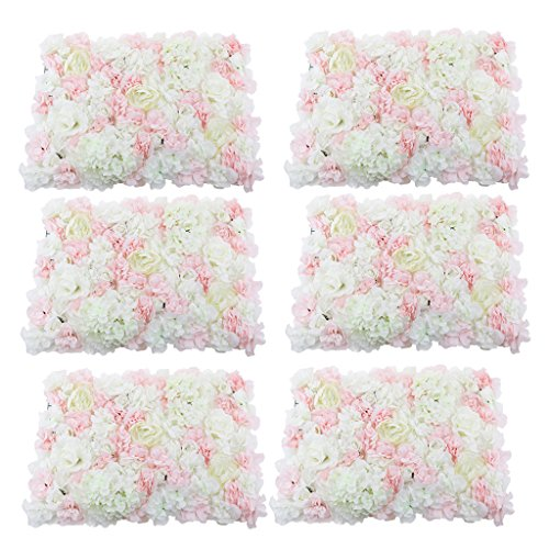 - MonkeyJack 6 Pieces Romantic Artificial Flowers Wall Panel Wedding Venue Floral Decoration Pink