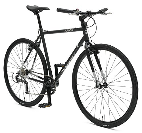 Retrospec Bicycles AMOK V2 CycloCross Nine-Speed/Commuter Bike with Chromoly Frame, Matte Black, 54cm/Medium