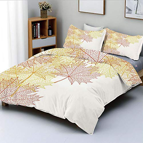 Duplex Print Duvet Cover Set King Size,Pattern with Maple Tree Fall Leaves Skeleton Dried Golden Forms Halloween Decoration DecorativeDecorative 3 Piece Bedding Set with 2 Pillow Sham,Red Yellow,Best for $<!--$129.99-->