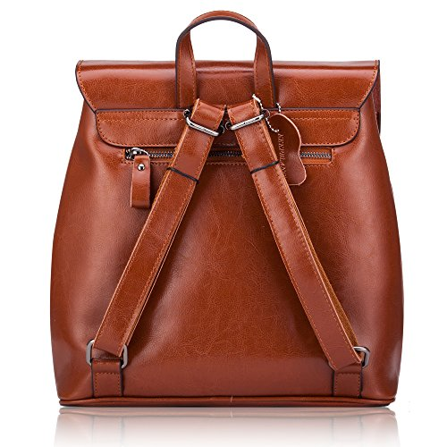 Women' Bag Leather Vintage School With s Brown Design Casual Genuine Small Daypack Backpack Travelling Satchel RtwrpRq8