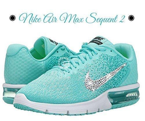 Swarovski NIKE Air Max, Teal, Nike Sequent 2, Custom Nike, Dance Team, Birthday Gift, Bling Nike (Tiffany Nike)