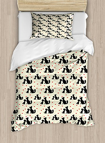 Ambesonne Red and Black Twin Size Duvet Cover Set, Black Dog and Cat Silhouettes with Red Hearts Domestic Animals Pet Love, Decorative 2 Piece Bedding Set with 1 Pillow Sham, Beige Red Black by Ambesonne