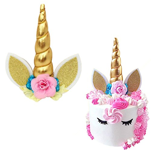 Unicorn Cat Ears Flower Birthday Cake Toppers Set Baby Shower Party Décor (Gold)]()
