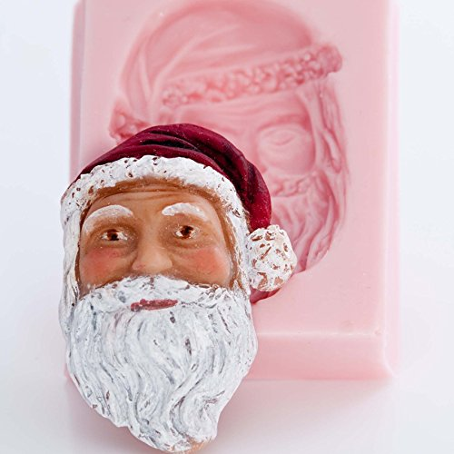 Santa Face Silicone Mold Food Safe Fondant, Chocolate, Candy, Resin, Polymer Clay, Soap, Wax, Jewelry, Craft Mold. Flexible and easy to use.