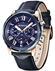 Men's Waterproof Chronograph Analog Watch- BERSIGAR Men's Luxury Dial Leather Strap Wristwatch