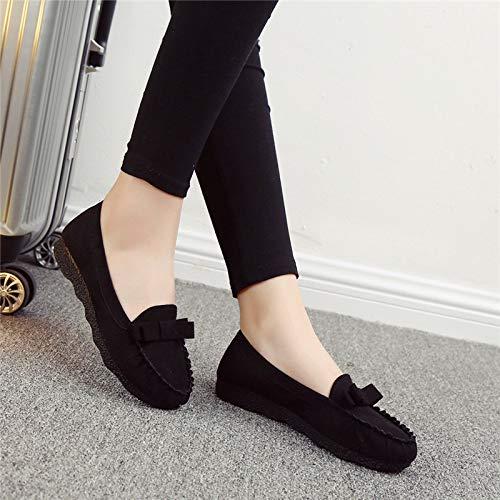 Occasionnel Doux Ronde Automne Individuelles Shoes Femmes Kphy Printemps Fort Fond Respirant En Et Tissu Chaussures Antidrapant Noir Bean Plat Tte Travail De 0awwZqP