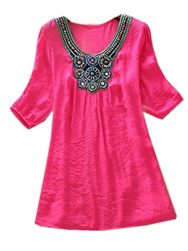 Aimur Women Dashiki Floral Print Half Sleeve Casual Embroidery Boho Shirt Rose