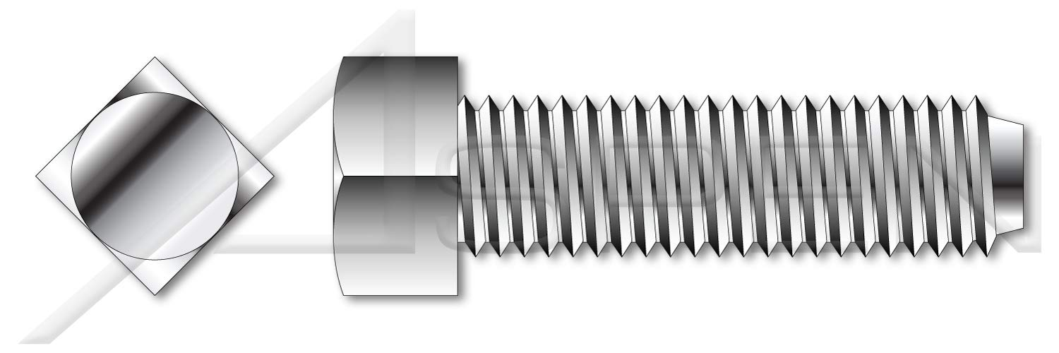 (150 pcs) 5/16''-18 X 3/8'', Set Screws, Square Head, Cup Point, Full Thread, AISI 304 Stainless Steel (18-8)