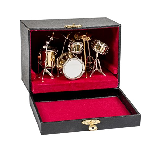 Gold Drum Set Metal Instrument Miniature Replica on Stand, Size 5 x 5 x 4 in.